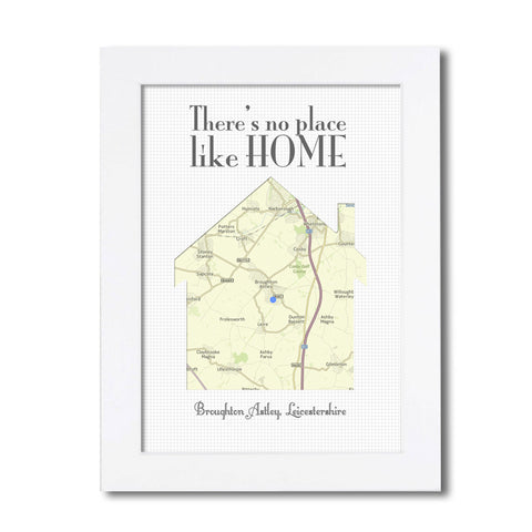 No Place Like Home Personalised Map
