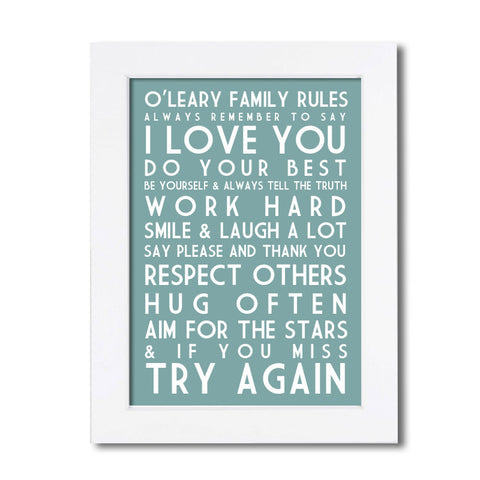 Personalised Family Rules Poster