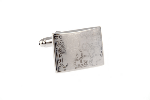 Elegant Rectangle Swirl Pattern Cuff Links, Unbreakable Man - 1