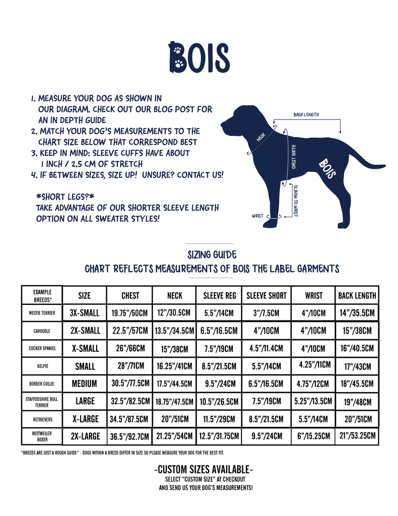bois the label dog hoodie size chart