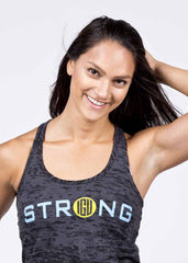 Womens STRONG burnout grey tank