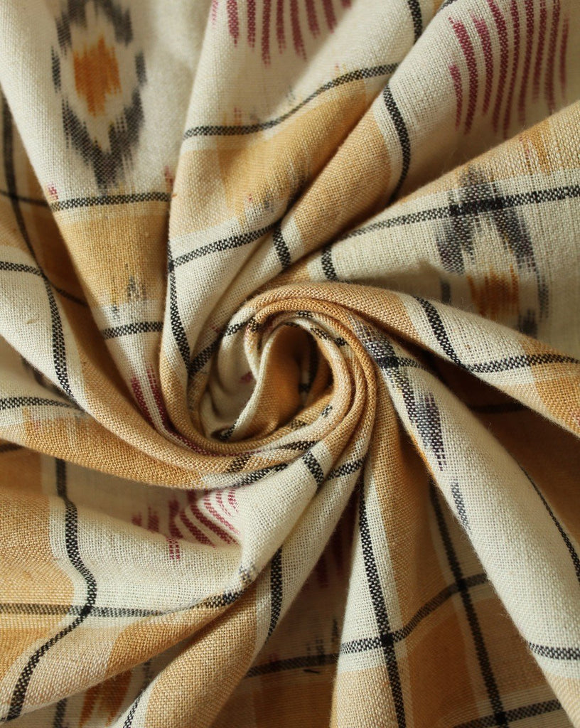 Brown And White Check Cotton Ikat Fabric