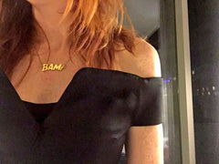 Angela Scanlon BAFTA Scotland wearing  Edge Only BAM! Letters Necklace Gold