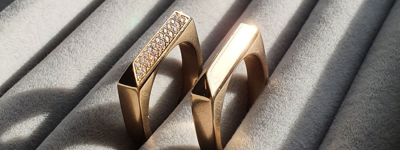 Edge Only Diamond Pavé Rooftop Rings in 14 carat gold