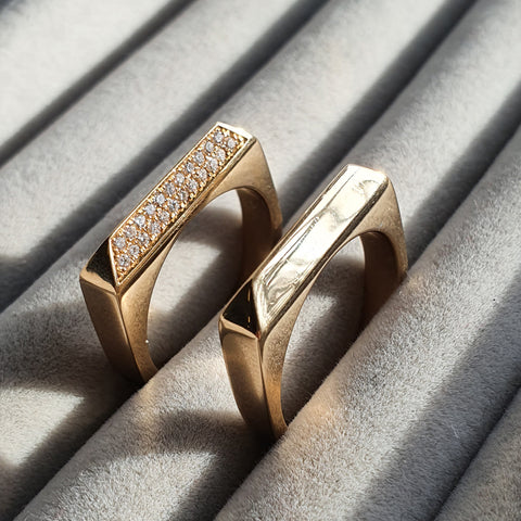 Edge Only Diamond Rooftop Rings set in 14 carat yellow gold