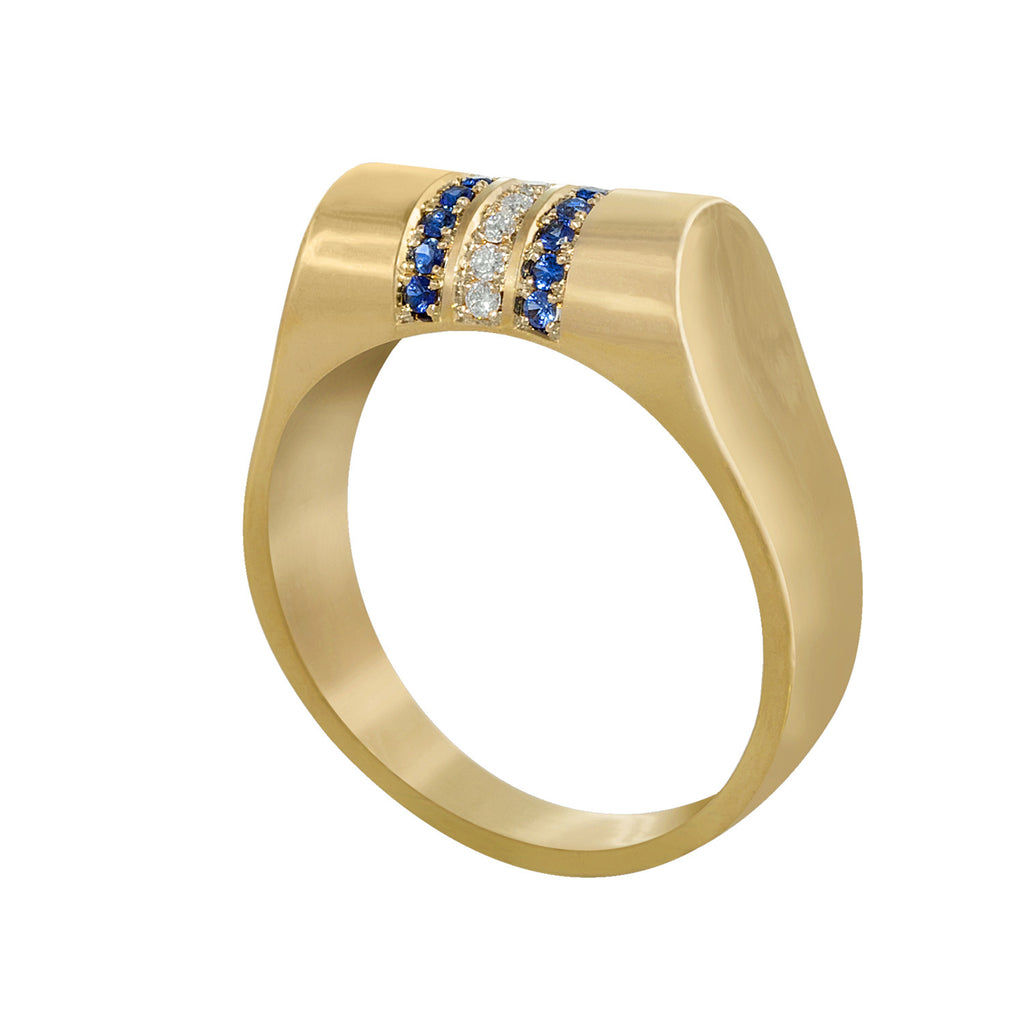 Edge Only Diamond and Sapphire High Top Ring in 14 carat gold