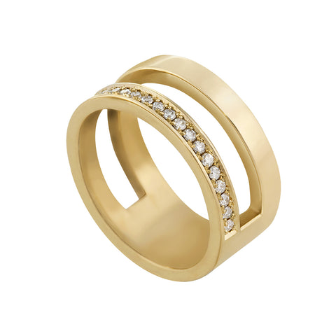 Edge Only Diamond Pavé Parallel Ring in 14 carat gold