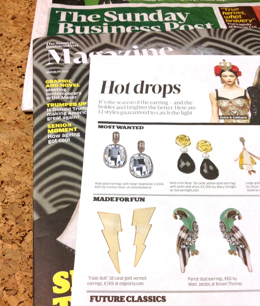 Edge Only - Sunday Business Post Weekend Magazine March 2017 Triple Bolt Earrings in 18ct gold vermeil