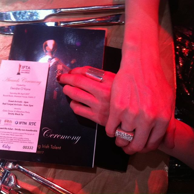 Edge Only's Wedge Ring and Rugged Ring at The IFTA Awards 2017 on the tiny, delicate hands of actress Simone Kirby.