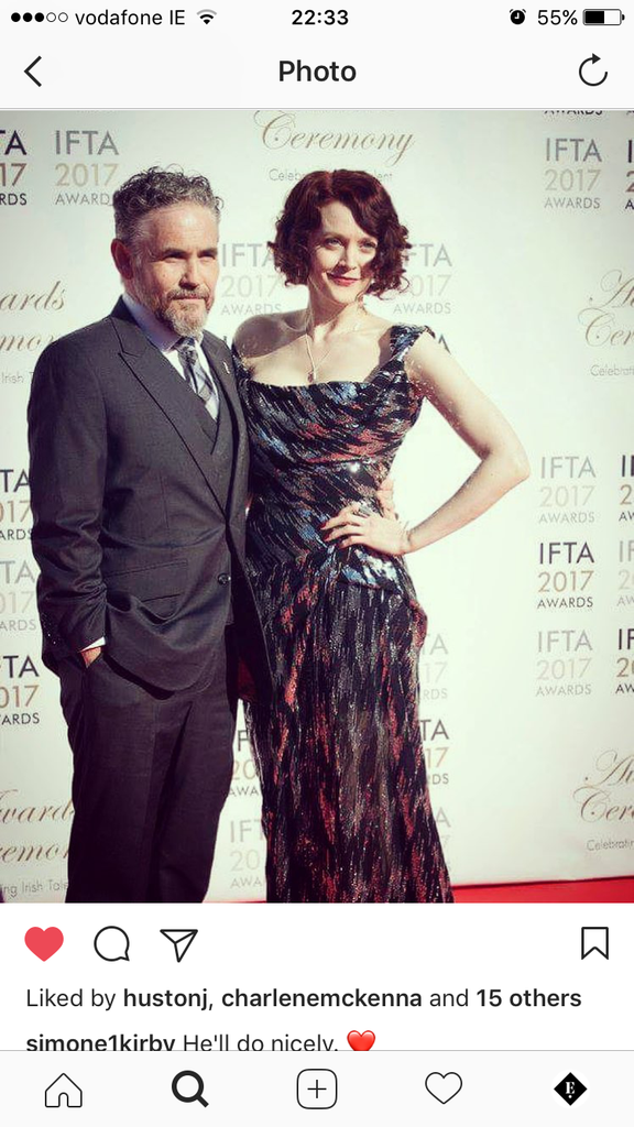 Fergal McElherron and Simone Kirby wearing Edge Only jewellery at IFTA 2107