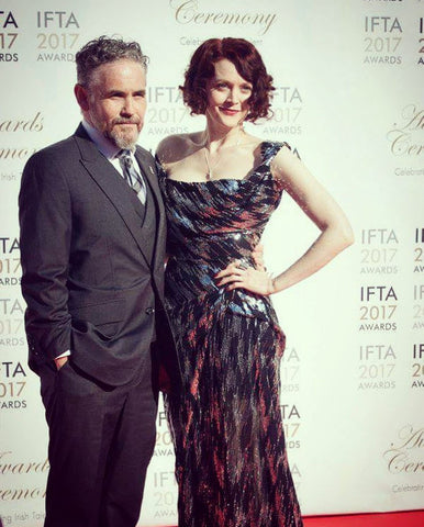 Fergal McElherron and Simone Kirby on the IFTA 2017 red carpet wearing Edge Only jewellery