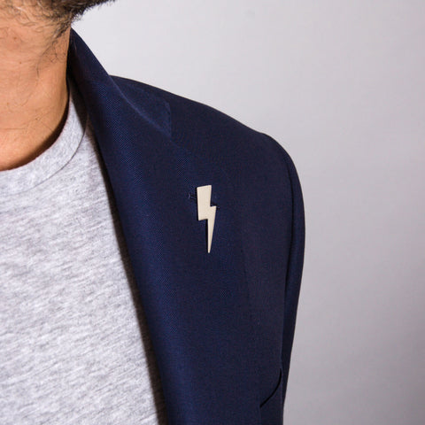 Edge Only Flat Top Lightning Bolt pin in sterling silver
