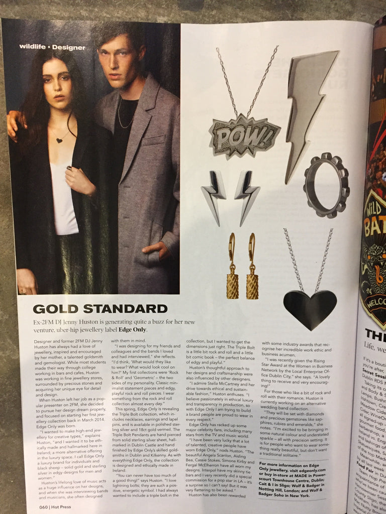 Hot Press Magazine Wildlife: Gold Standard Edge Only Jewellery