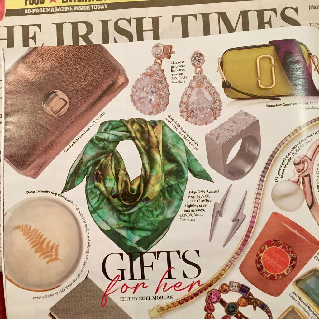 Irish Times Magazine Christmas gifts for her Edge Only ring and earrings