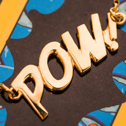 Edge Only Pow! Letter Necklace in Gold Vermeil