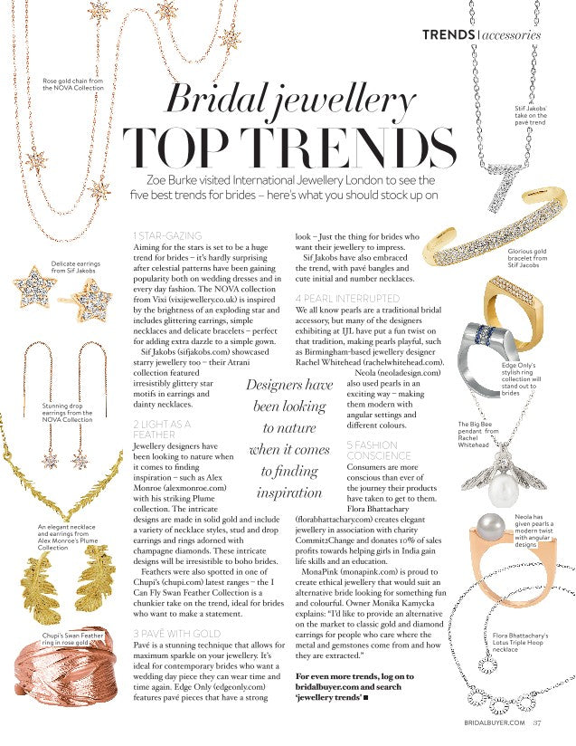 Bridal Buyer Magazine Top Jewellery Trends Pave with gold Edge Only