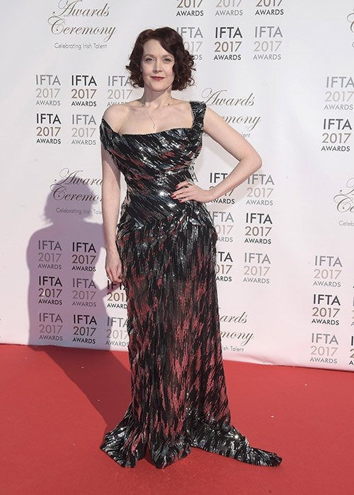 Simone Kirby - actress in a a supporting role film nominee red carpet wearing Vivienne Westwood and Edge Only jewelleryJPG