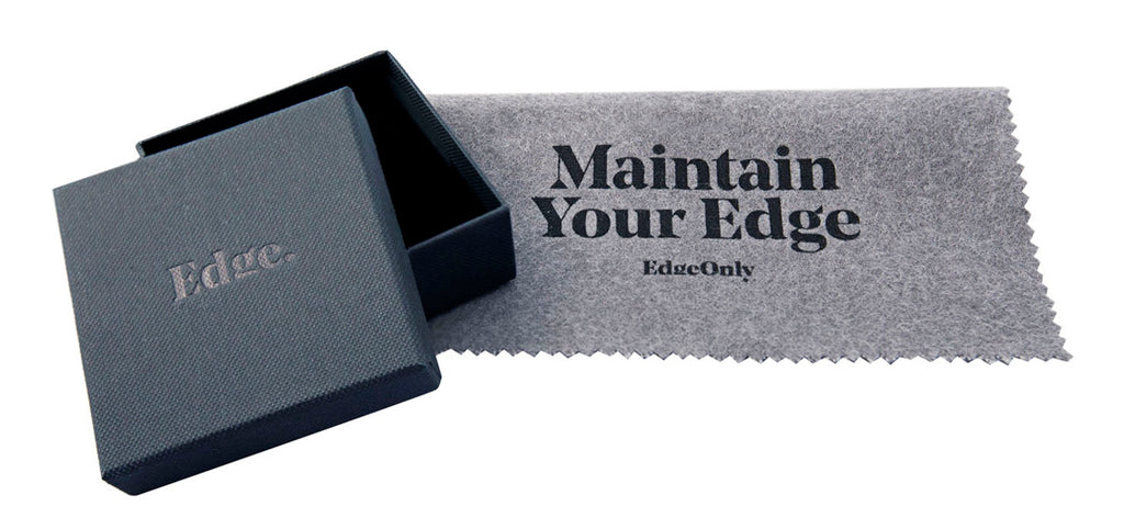 Edge Only jewellery box and Maintain your edge silver polishing cloth