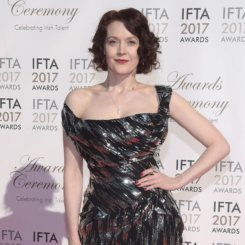 Simone Kirby wearing Edge Only jewellery and Vivienne Westwood gown at IFTA 2017