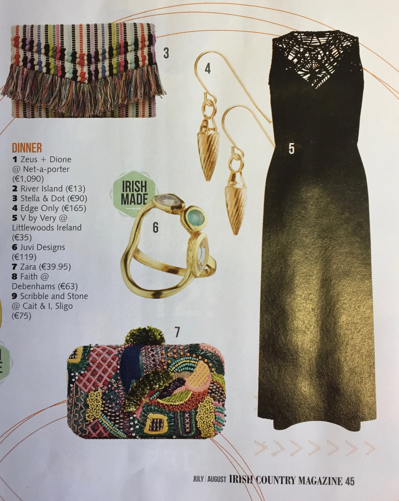 Edge Only Spiral Drop Earrings 18ct gold vermeil. Irish Country Magazine July/August 2017
