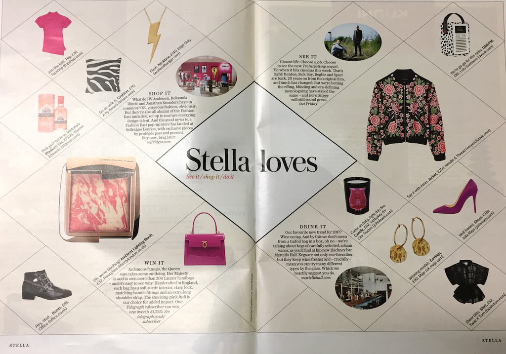 Stella Magazine The Telegraph  Stella Loves Edge Only Flash  Flat Top Lightning Bolt Pendant