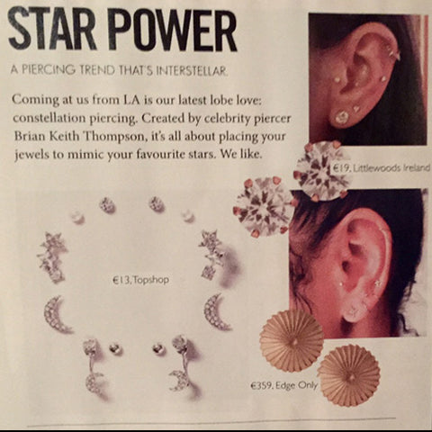 Stellar Magazine December 2016 Edge Only Gold Burr Earrings