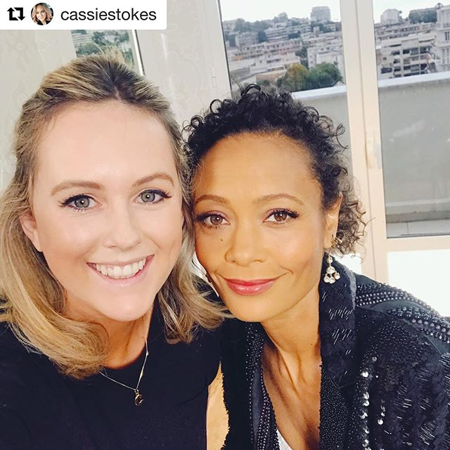 The smiling stunner Cassie Stokes wearing our gold C Letter necklace while recording in Canne for TV3 Xposé with the incredible Thandie Newton from Star Wars.