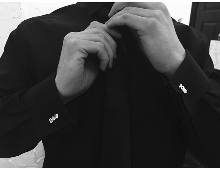 We love this black on black look from a customer with our sterling silver POW! and BAM! Cufflinks. Serious wedding style!
