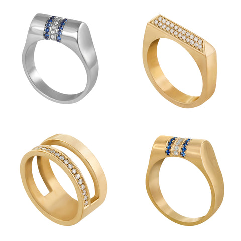Edge Only Gold and Platinum diamond rings