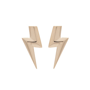3D Flat Top Lightning Bolt Earrings in 14 Carat Gold