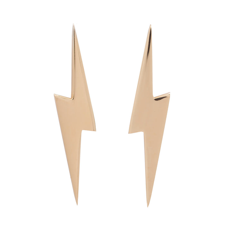 Edge Only 14ct gold Pointed Lightning Bolt Earrings