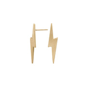 Edge Only Pointed Lightning Bolt Earrings in 14ct Gold matt