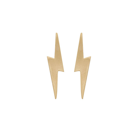 Pointed Lightning Bolt Earrings in 14ct Gold