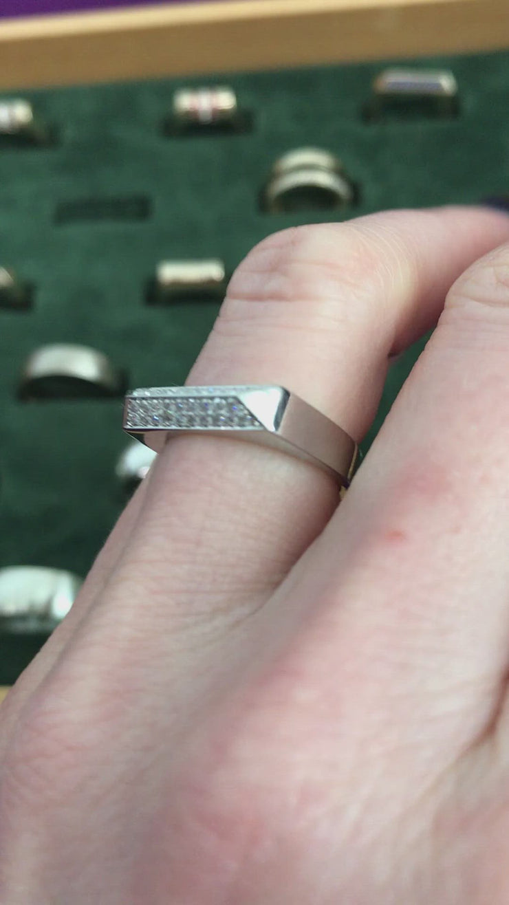 Double Diamond Rooftop Ring in Platinum