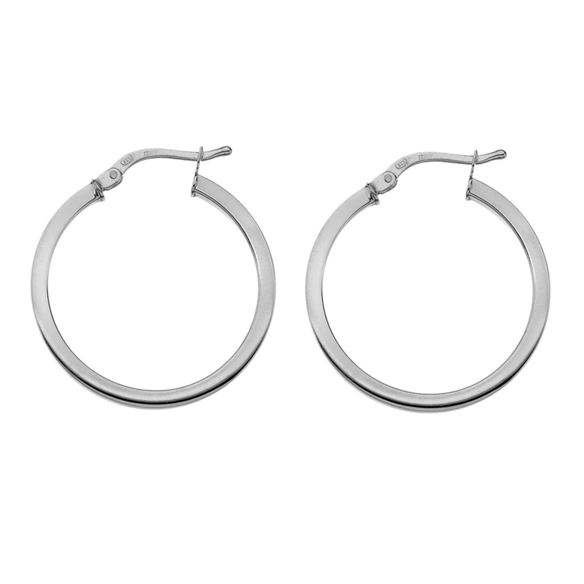 Edge Only 20mm Square wire hoops in sterling silver