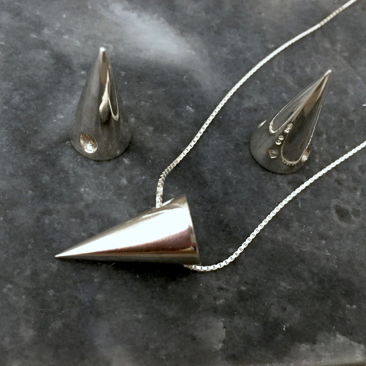 3D Cone Pendant in Sterling Silver