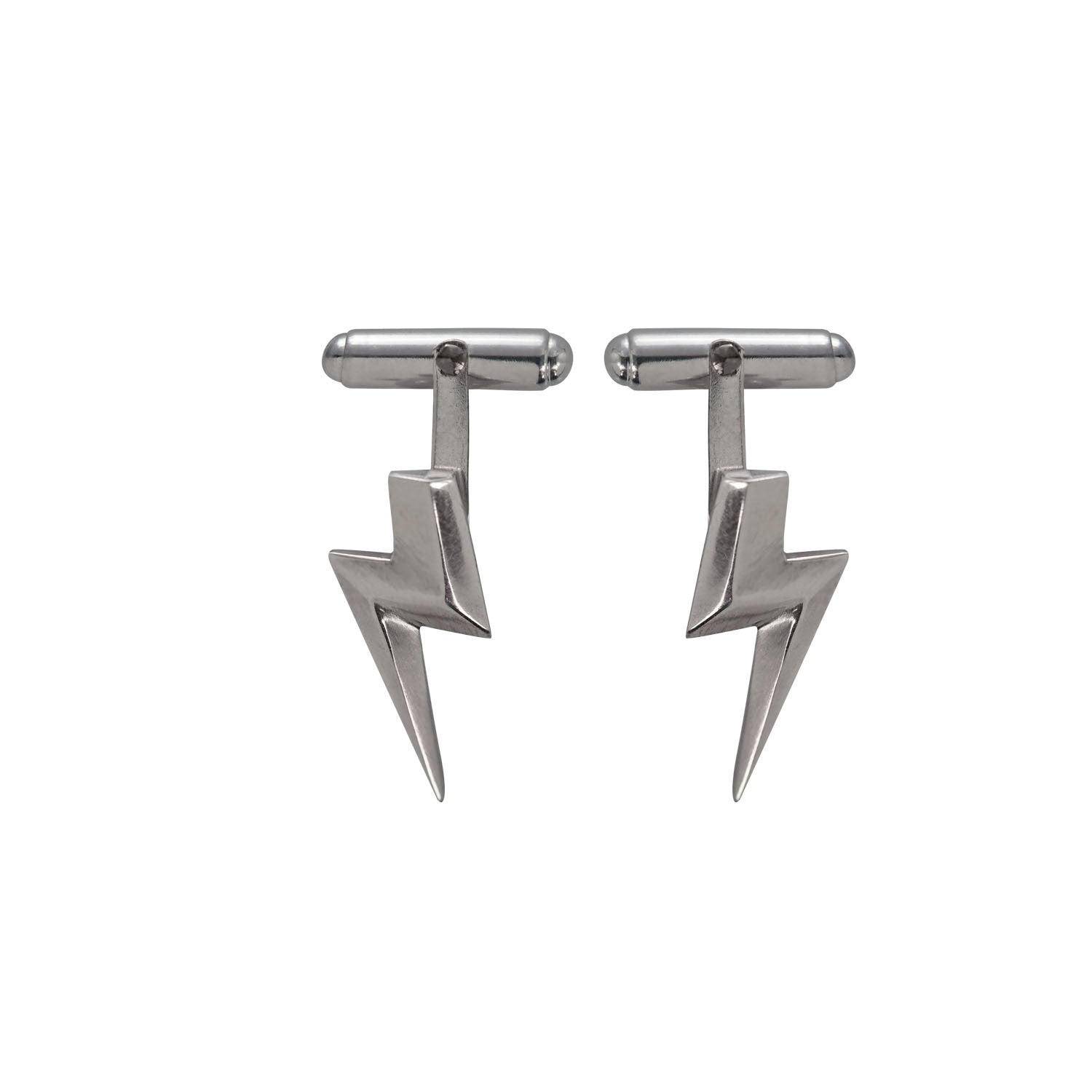 3D Flat Top Lightning Bolt Cufflinks in Sterling Silver