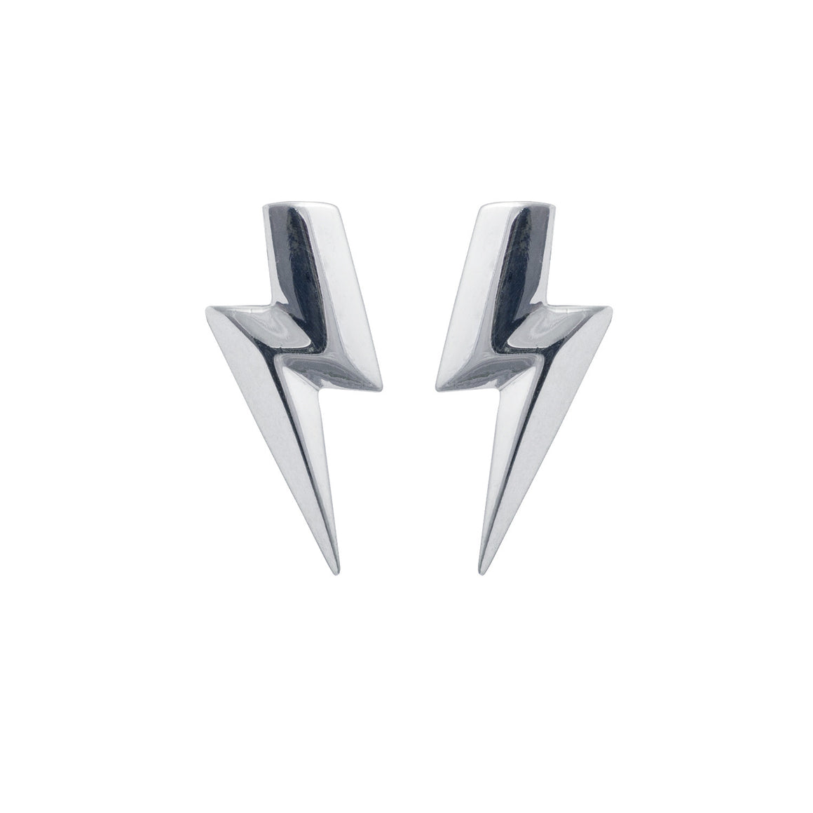 Edge Only 3D Flat Top Lightning Bolt Earrings in Sterling Silver