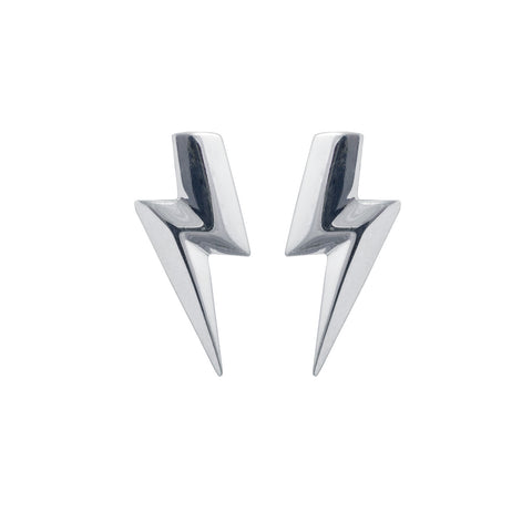 3D Flat Top Lightning Bolt Earrings in Sterling Silver