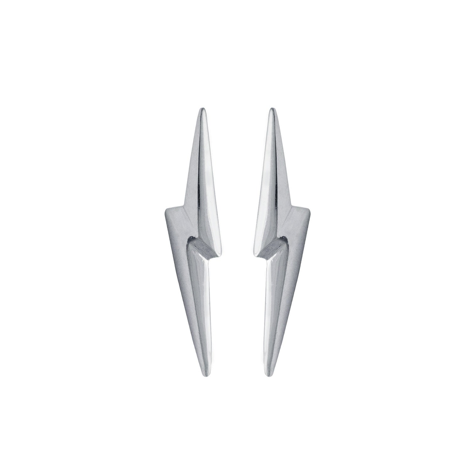 Edge Only 3D Pointed Lightning Bolt Earrings in Sterling Silver