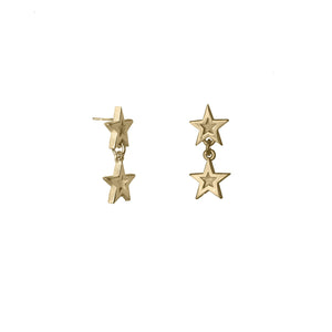 Megastar Double Star Drop Earrings in 9 carat gold
