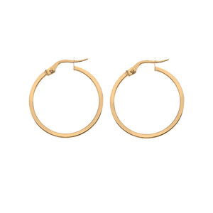 Hoops 20mm Square Wire  - 9ct gold
