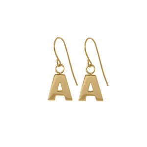 A Letter Earrings in 18ct gold vermeil