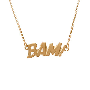 Edge Only BAM Letters Necklace Large in 18ct Gold Vermeil