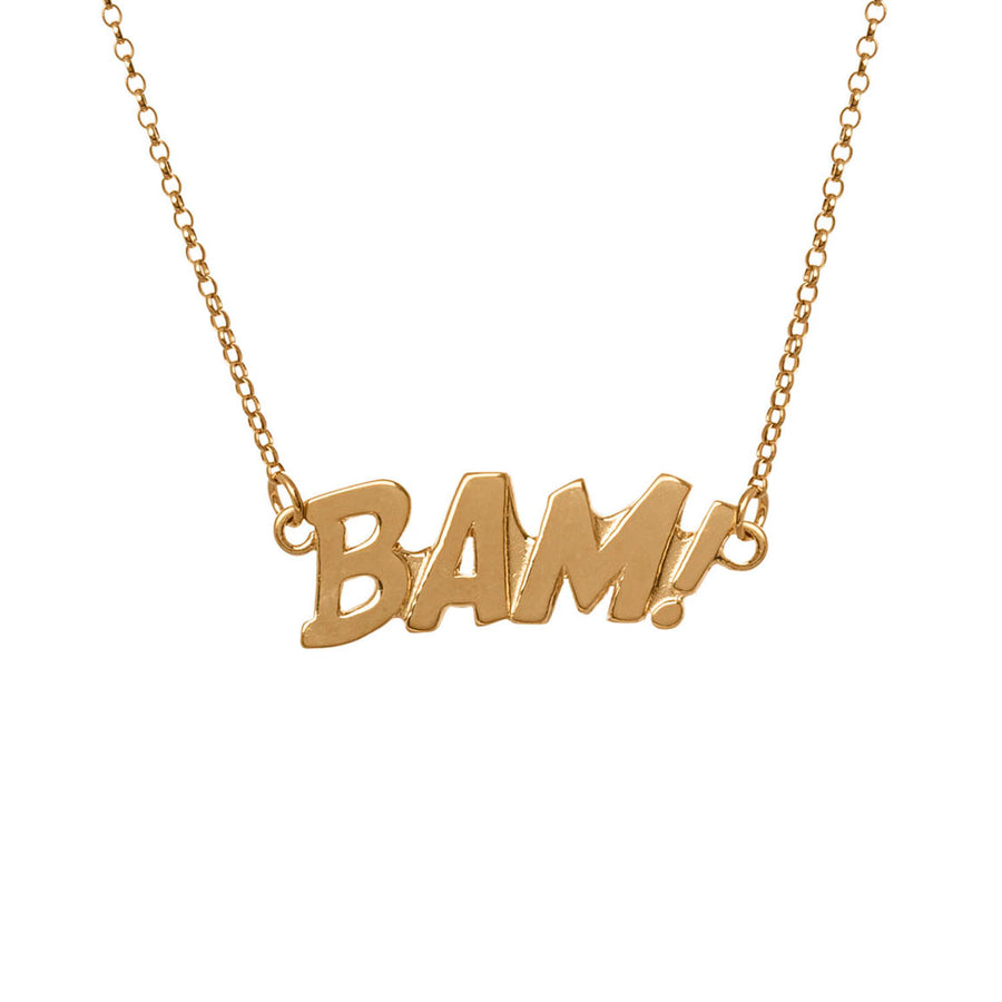 Edge Only BAM Letters Necklace Large Sterling Silver