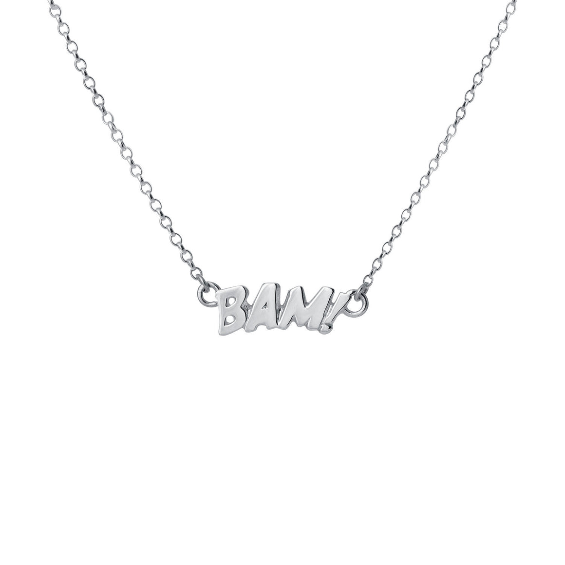 Edge Only BAM! Letters Necklace Small in sterling silver