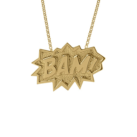 BAM Pendant Extra Large Long in 18ct gold vermeil
