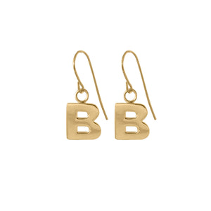 B Letter Earrings in 18ct gold vermeil