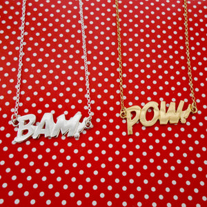 Edge Only BAM Letters Necklace in silver POW in gold vermeil