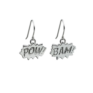 Edge Only POW and BAM Drop Earrings in sterling silver